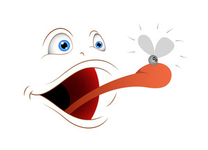 Cartoon Face Tongue Attack On Fly Insect Vector