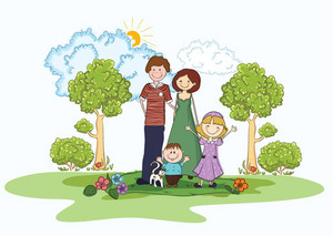 Cartoon Family Background Vector Illustration