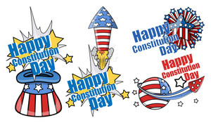 Cartoon Fireworks Celebration Constitution Day Vector Illustration