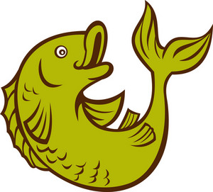 Cartoon Fish Jumping Side