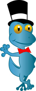 Cartoon Gecko With Top Hat And Bow Tie Standing