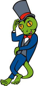 Cartoon Gecko With Top Hat Bow Tie Tuxedo Standing