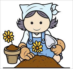 Cartoon Girl Gardening - Vector Illustrations