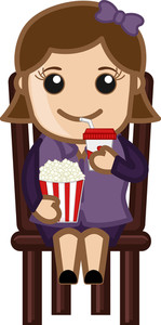 Cartoon Girl Having Pop Corn And Cold Drink