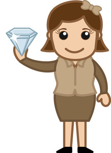Cartoon Girl Holding A Diamond