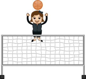 Cartoon Girl Playing Throwball
