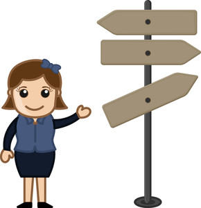 Cartoon Girl Presentinng Way Sign Board