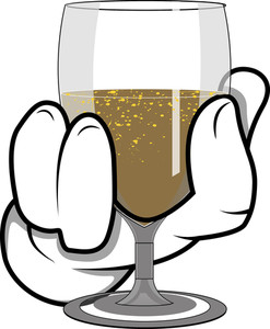 Cartoon Hand - Holding Wine Glass - Vector Illustration
