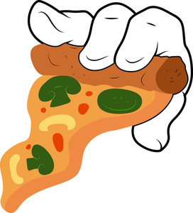 Cartoon Hand - Pizza - Vector Illustration