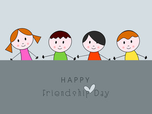 Cartoon Illustration Of Cute Littlefriends With Text Happy Friendship Day On Grey Background