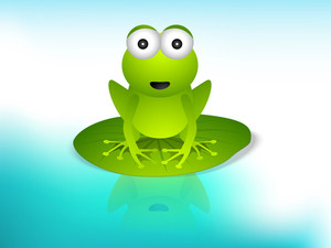 Cartoon Illustration Of Frog On Blue Background.