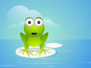 Cartoon Illustration Of Frog On Blue Background.