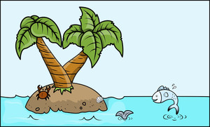 Cartoon Island In Sea - Vector Cartoon Illustration