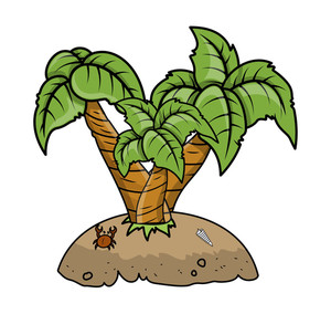 Cartoon Island - Vector Cartoon Illustration