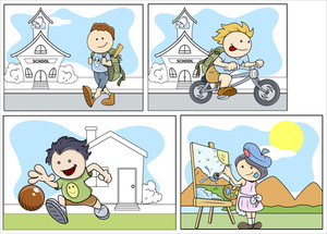 Cartoon Kids Vector Set Of Illustrations