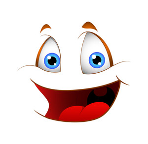 Cartoon Laughing Vector Face