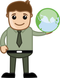 Cartoon Man Holding A Earth Globe Icon Vector