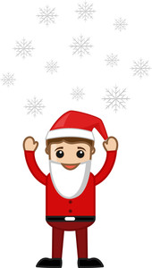 Cartoon Man In Santa Costume - Snowflakes Floating In Air