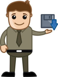 Cartoon Man Showing Save Icon Vector