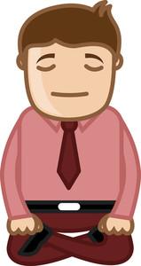 Cartoon Man Vector - Yoga Meditation