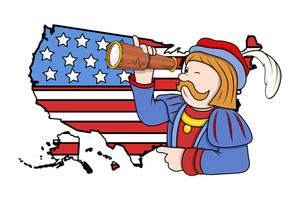 Cartoon Man With Binocular Usa Map Background