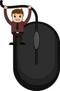 Cartoon Man With Mouse - Vector Illustration