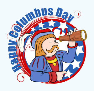 Cartoon Man With Telescope Columbus Day Graphic Banner Vector