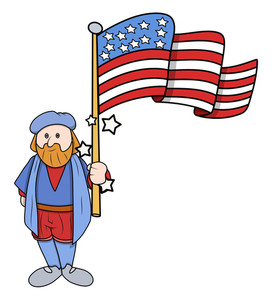 Cartoon Man With Usa Flag