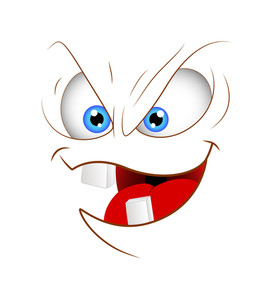 Cartoon Naughty Smile Face Expression Vector