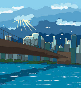 Cartoon New York Background Vector Illustration