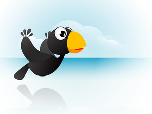 Cartoon Of Crow On Abstract Background.