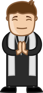 Cartoon Priest Man Praying - Vector Illustration