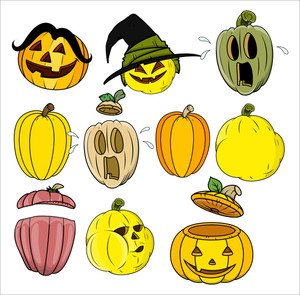 Cartoon Pumpkin And Jack O' Lantern Vectors