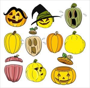 Cartoon Pumpkin And Jack O' Lantern Vectors