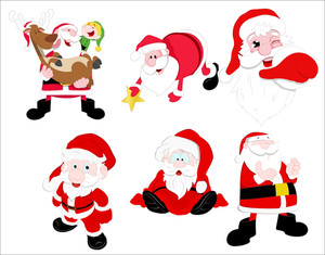 Cartoon Santa And Characters Vectors