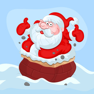 Cartoon Santa Claus - Christmas Vector Illustration