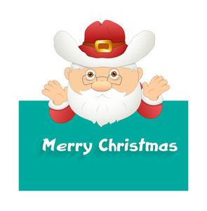 Cartoon Santa Claus With Christmas Template
