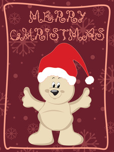 Cartoon Santa On Abstract Background