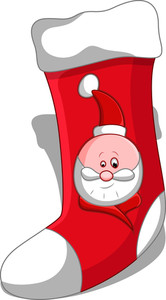 Cartoon Santa Stocking - Christmas Vector Illustration