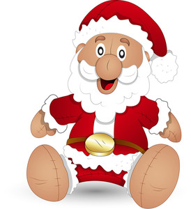 Cartoon Santa Stuffed Toy - Christmas Vector Illustration
