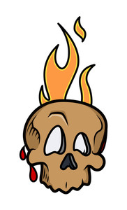 Cartoon Skull With Fire Flame And Blood Drops Vector Illustration