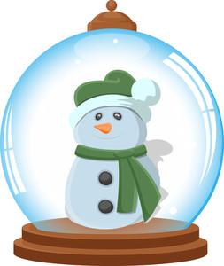 Cartoon Snowman In Ice Globe