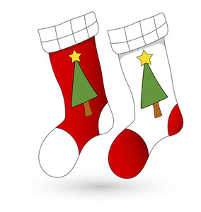 Cartoon Stockings - Christmas Vector Illustration