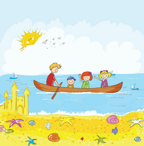 Cartoon Summer Background Vector Illustration