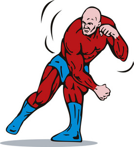 Cartoon Super Hero Running Punching