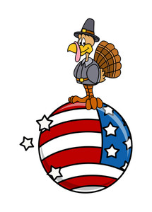Cartoon Turkey Bird Character On Usa Flag Earth
