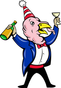 Cartoon Turkey Suit Tie Bottle Glass Wine Toast