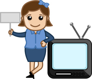 Cartoon Tv With Retro Woman - Business Cartoons Vectors
