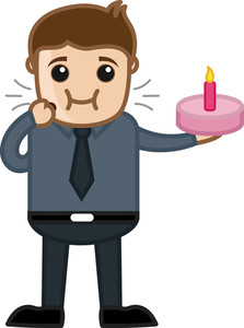 Cartoon Vector Businessman Eating Birthday Cake