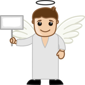 Cartoon Vector Character - Angel Holding A Black Banner